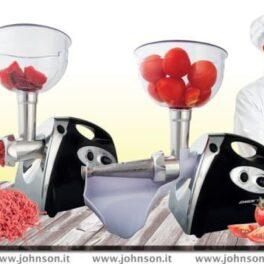 Johnson Tomit Passapomodoro e tritacarne elettrico 600W separa bucce e semi