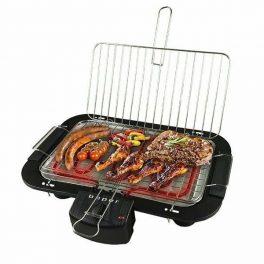 Bistecchiera Barbecue elettrico doppia griglia acciaio apri e chiudi 2000W 28X22